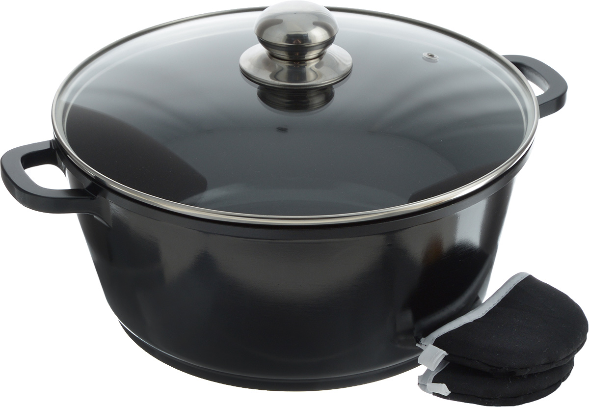Кастрюля Bohmann с крышкой, с керамическим покрытием, цвет: черный, стальной, 5,5 л7328BKBHКастрюля Bohmann изготовлена из алюминия с высококачественным внутренним керамическим покрытием. Такое покрытие прекрасно подходит для приготовления супов, жарки, пассировки и тушения, в посуде можно приготовить разнообразные блюда из мяса, рыбы, птицы и овощей практически не используя масло. Готовое блюдо получится не только вкусным, но и полезным. Кастрюля оснащена алюминиевыми ручками, которые дополнены текстильными чехлами-прихватками для защиты от ожогов. Крышка из жаропрочного стекла со стальным ободом дополнена отверстием для выпуска пара.Можно использовать на газовых, электрических, галогеновых и индукционных плитах. Можно мыть в посудомоечной машине. Диаметр кастрюли: 28 см.Высота стенки: 12,5 см. Толщина дна: 8 мм.Ширина с учетом ручек: 36 см.