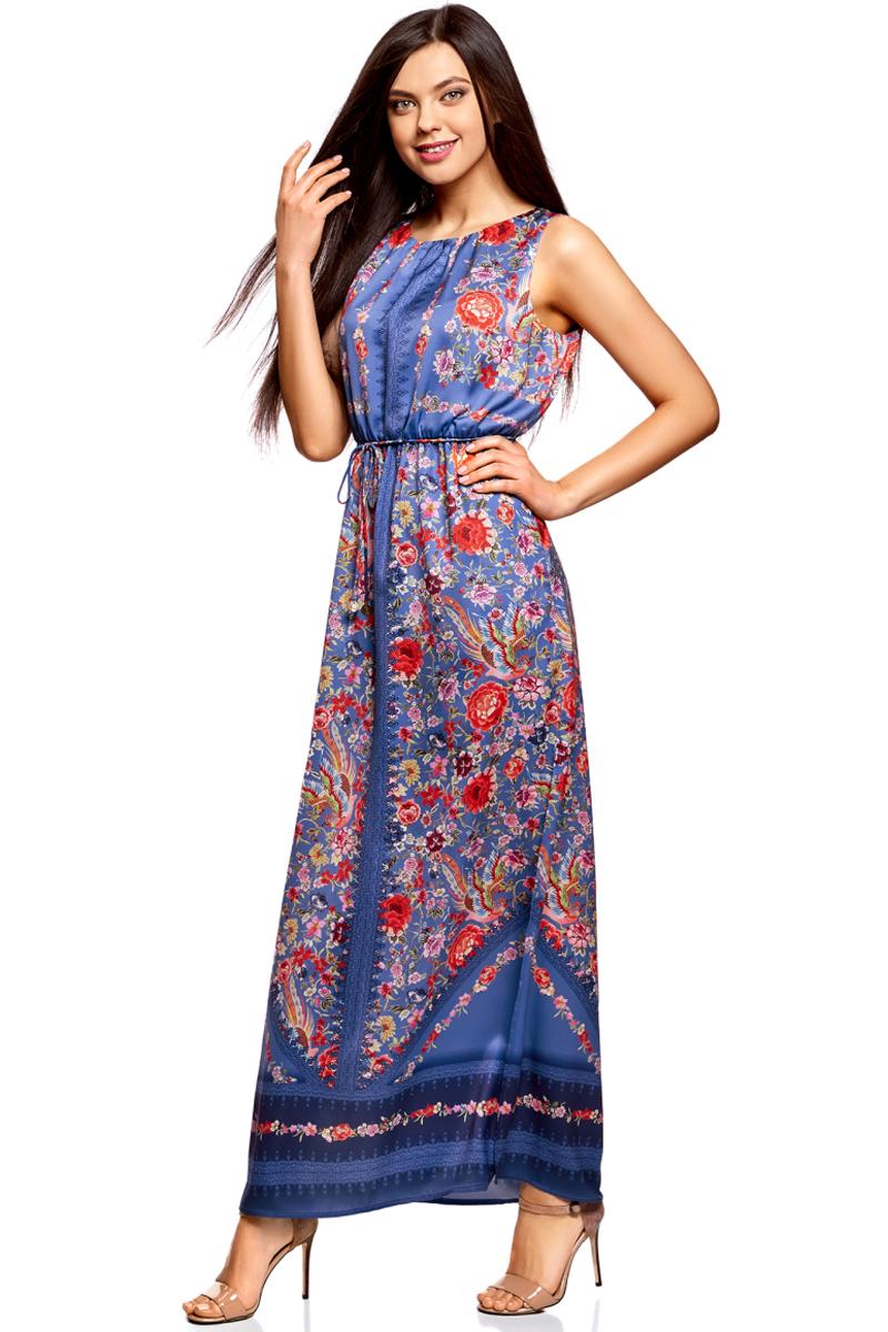 Платье oodji Collection, цвет: синий, красный. 21900323-3M/42873/7545F. Размер 38-170 (44-170)21900323-3M/42873/7545FДлинное платье в пол от oodji выполнено из высококачественного материала. Модель без рукавов и с круглым вырезом горловины с глубоким разрезом на спине сзади застегивается на пуговицу. По бокам юбка платья дополнена разрезами. Талия дополнена эластичной резинкой и тонким текстильным пояском.