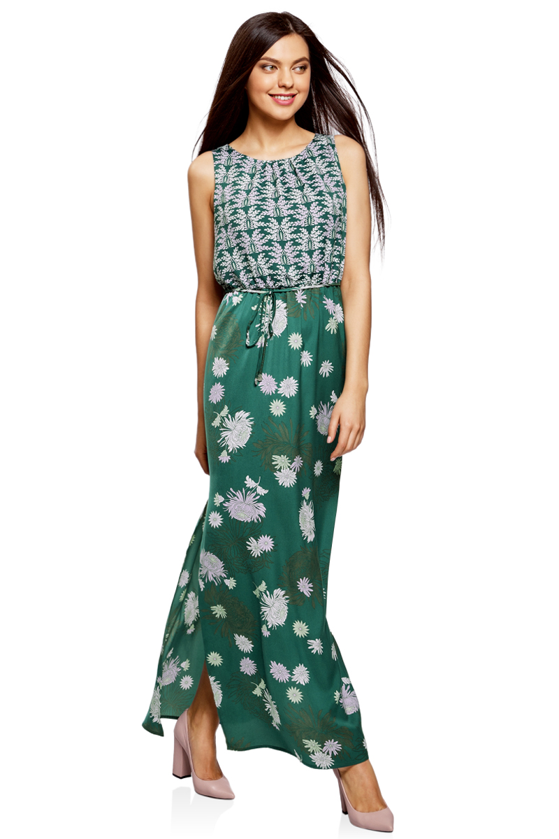 Платье oodji Collection, цвет: зеленый, белый. 21900323-2/42873/6980F. Размер 40-170 (46-170)21900323-2/42873/6980FДлинное платье в пол от oodji выполнено из высококачественного материала. Модель без рукавов и с круглым вырезом горловины с глубоким разрезом на спине сзади застегивается на пуговицу. По бокам юбка платья дополнена разрезами. Талия дополнена эластичной резинкой и тонким текстильным пояском.