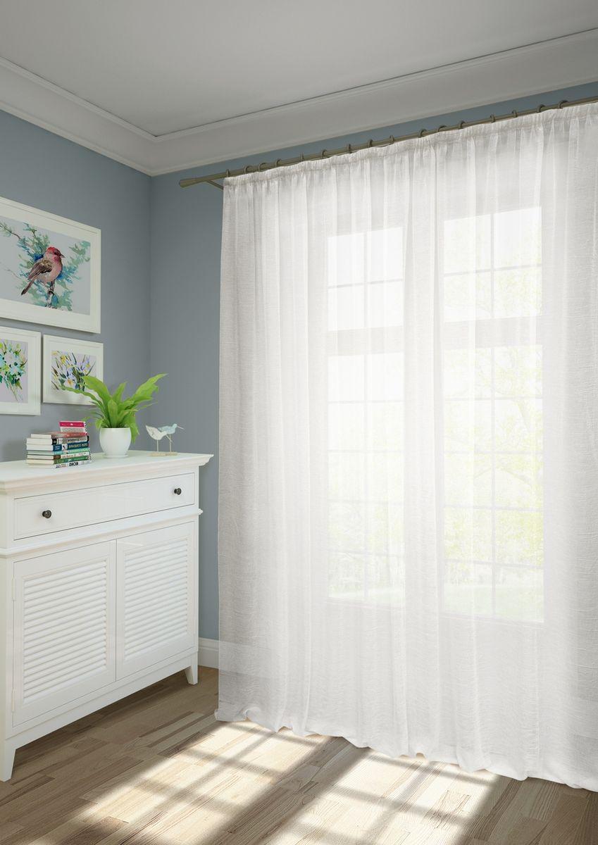 """Тюль KauffOrt """"Креш"""" изготовлен из вуали с жатым эффектом.  Воздушная ткань привлечет к себе внимание и идеально оформит интерьер  любого помещения.   Крепление к карнизу осуществляется при помощи вшитой шторной ленты."""