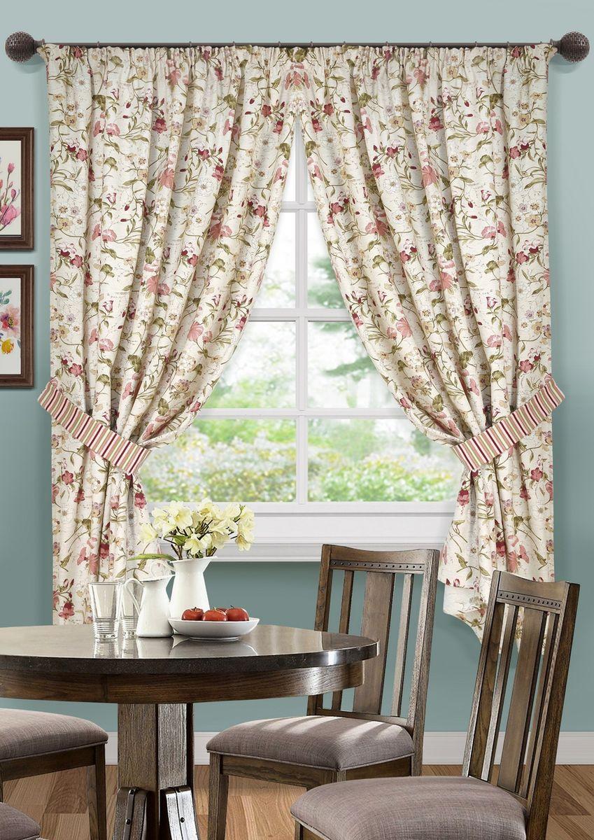 Комплект штор для кухни KauffOrt Тосу, на ленте: 2 портьеры 136 x 175 см, 2 подхвата, цвет: льняной henry smith повседневные брюки