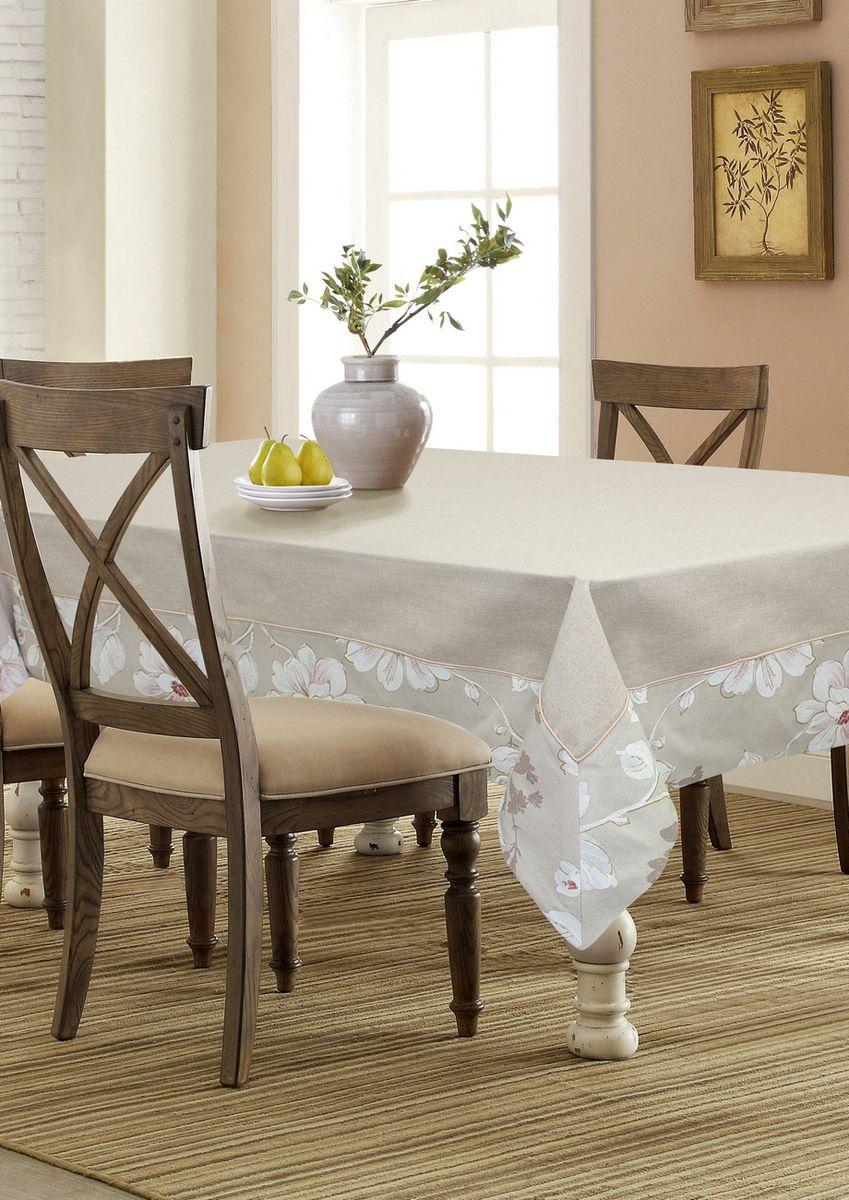 """Прямоугольная скатерть Kauffort """"Сара"""" органично впишется в интерьер вашей  кухни, а оригинальный дизайн удовлетворит даже самый изысканный вкус.  Изделие выполнено из полиэстера и хлопка. Скатерть поможет создать  атмосферу уюта и домашнего тепла в интерьере вашей кухни, а также станет  настоящим украшением праздничного стола."""