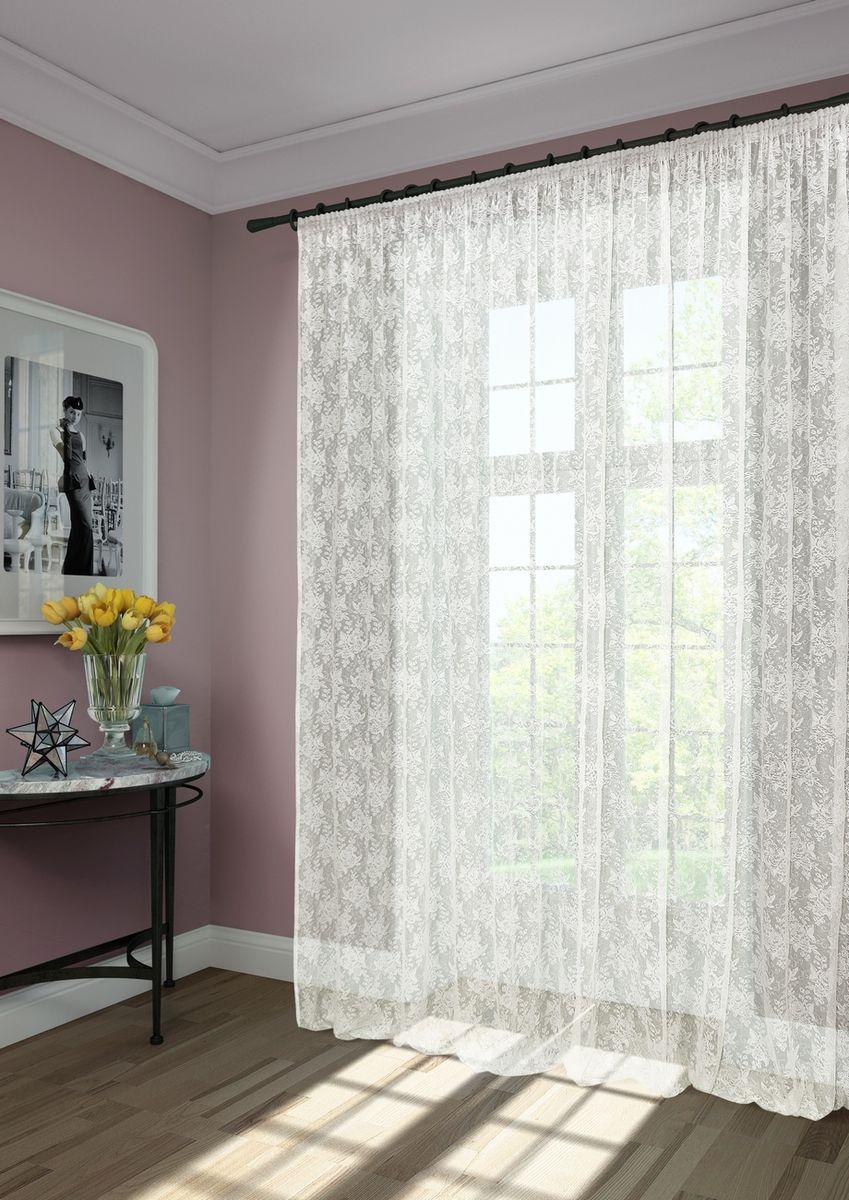 """Тюль KauffOrt """"Лиса"""" изготовлен из кружевной сетки.  Воздушная ткань привлечет к себе внимание и идеально оформит интерьер  любого помещения.   Крепление к карнизу осуществляется при помощи вшитой шторной ленты."""