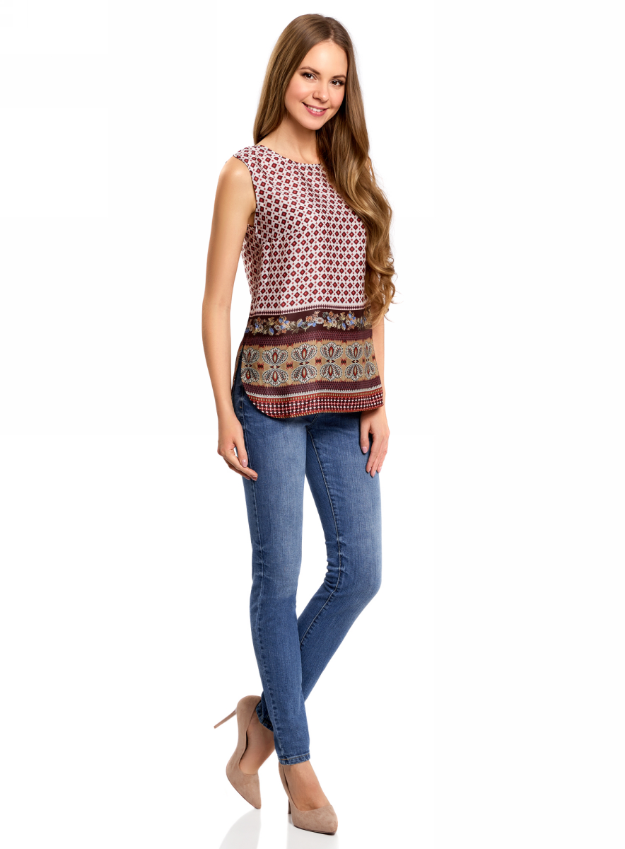 Блузка женская oodji Collection, цвет: бордовый, белый. 21400351M/35542/1231E. Размер 44-170 (50-170)