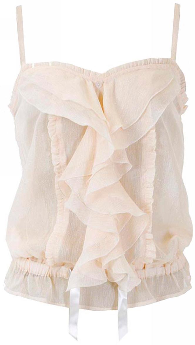 Блузка женская oodji Ultra, цвет: кремовый металлик. 11402078/14322/3000X. Размер 40 (46-164)11402078/14322/3000XМодная женская блузка oodji Ultra изготовлена из высококачественного полиэстера. Модель на бретельках дополнена оригинальными волами.