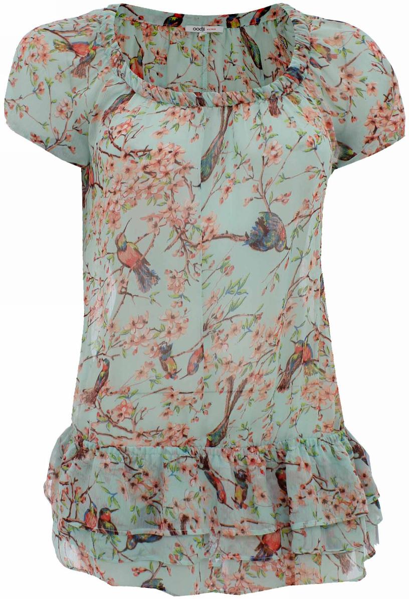 Блузка женская oodji Ultra, цвет: ментоловый, светло-розовый. 11400247/15464/6540F. Размер 38-170 (44-170)11400247/15464/6540FМодная женская блузка oodji Ultra изготовлена из высококачественного полиэстера. Модель с круглым вырезом и короткими рукавами дополнена снизу пышными волами.