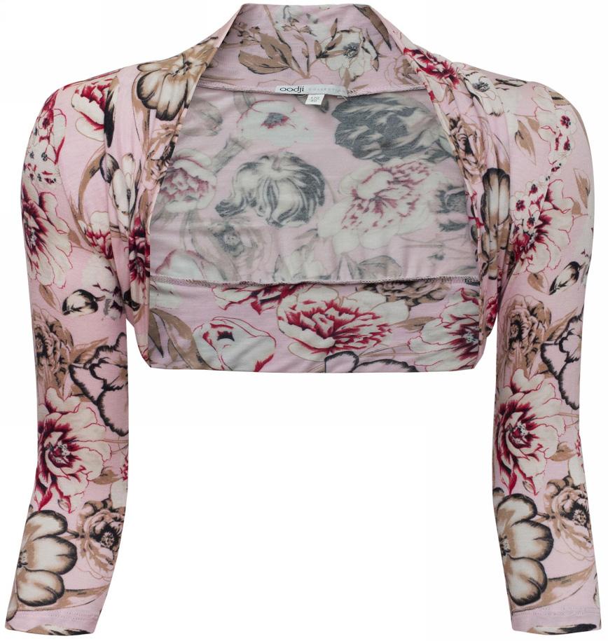 Болеро женское oodji Collection, цвет: светло-розовый. 21300154-2/16753/4133F. Размер 38-170 (44-170)21300154-2/16753/4133FБолеро от oodji с рукавами 3/4выполнено из эластичной вискозы и декорировано цветочным принтом.