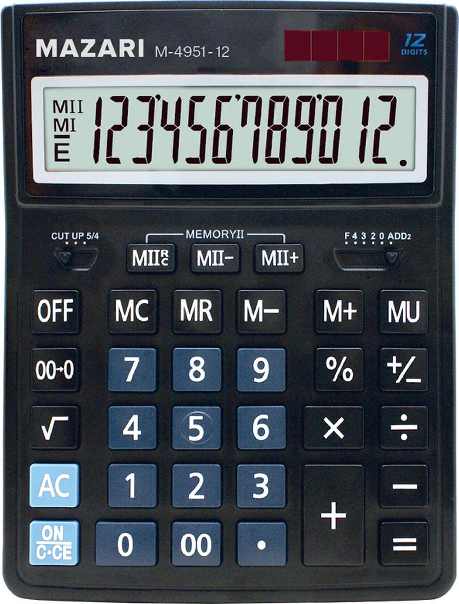 Mazari Настольный калькулятор М-4951-12М-4951-12Калькулятор настольный Mazari имеет 12 разрядов и 2 типа питания. Обладает функцией вычисление наценки. Корпус выполнен из пластика.
