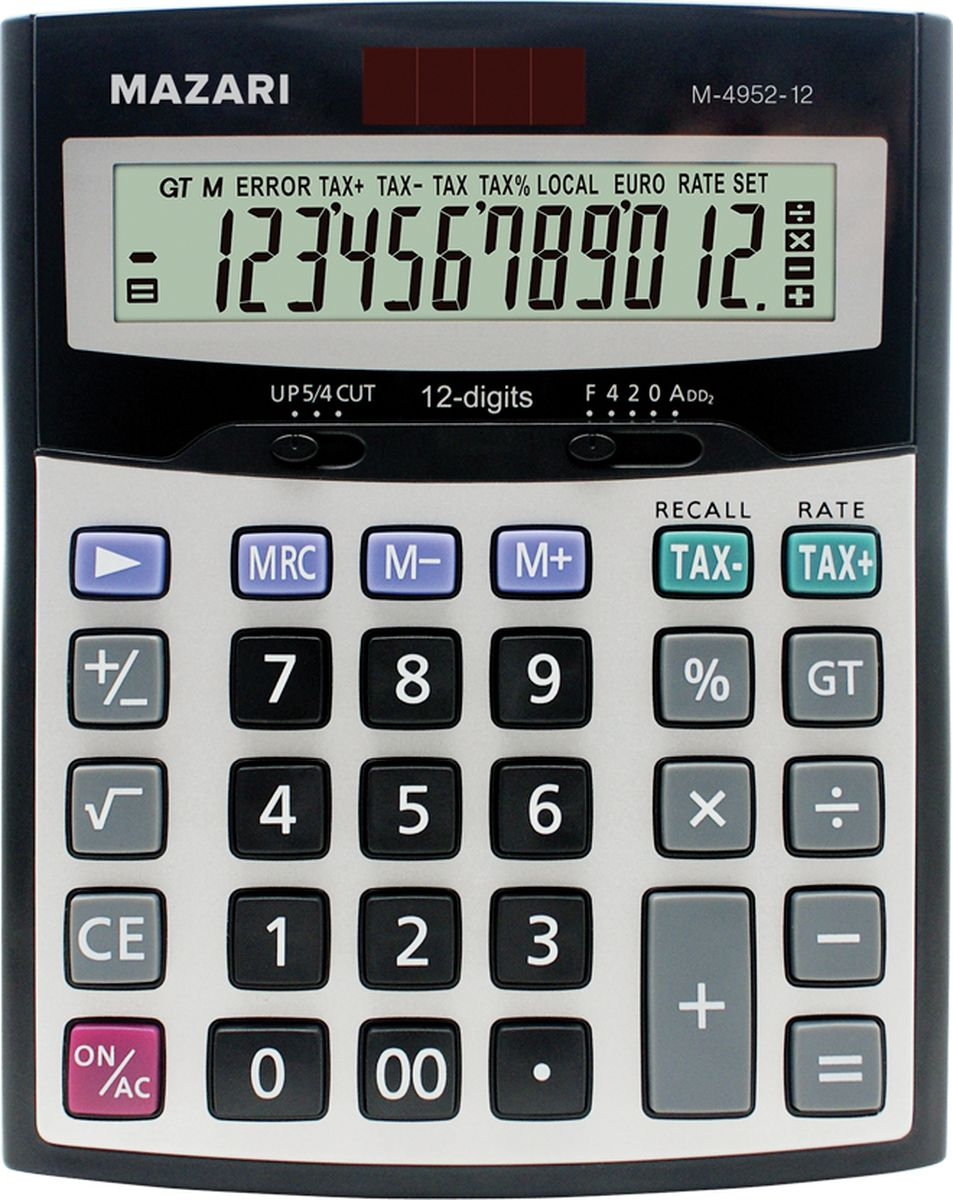 Mazari Настольный калькулятор М-4952-12М-4952-12Калькулятор настольный Mazari имеет 12 разрядов и 2 типа питания. Обладает функцией Общий итог+расчет налога. Корпус изготовлен из пластика с алюминиевой пластиной.