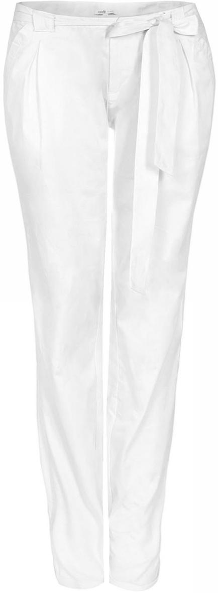 Брюки женские oodji Ultra, цвет: белый. 11700160/27125/1000N. Размер 34-170 (40-170)11700160/27125/1000NЖенские брюки от oodji выполнены из натурального хлопка. На талии модель дополнена текстильным поясом.