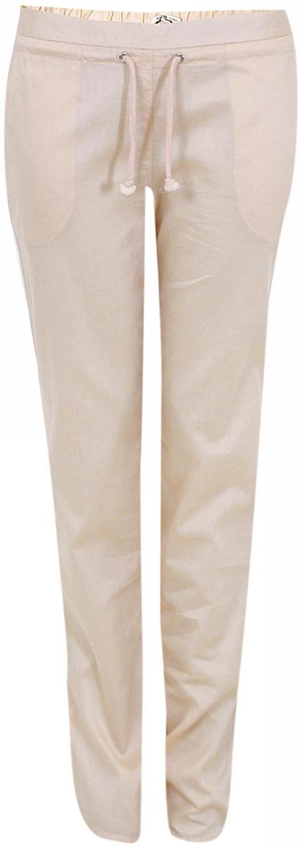 Брюки женские oodji Ultra, цвет: светло-розовый. 11701024/14527/4000N. Размер 42-170 (48-170)11701024/14527/4000NЖенские брюки от oodji зауженного кроя выполнены из натурального хлопка.