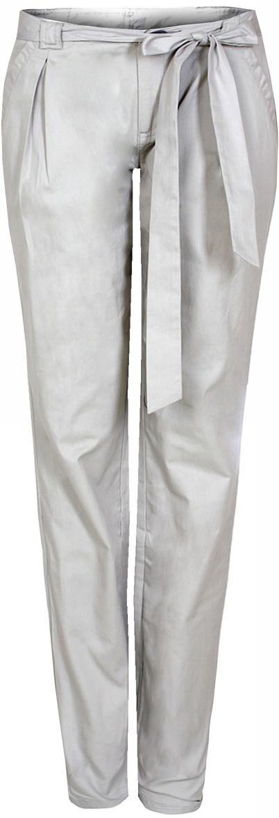Брюки женские oodji Ultra, цвет: светло-серый. 11700160/27125/2000N. Размер 42-170 (48-170)11700160/27125/2000NЖенские брюки от oodji выполнены из натурального хлопка. На талии модель дополнена текстильным поясом.