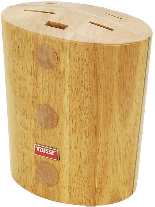 Подставка для ножей Vitesse TaliaVS-1344Подставка для ножей Talia, изготовленная из высококачественной каучуковой древесины, поможет вам в удобном и безопасном хранении ножей. Все пазы для ножей располагаются вертикально. Подставка рассчитана на пять ножей, также в ней имеется паз для ножниц или точилки для ножей. Подставка очень устойчива и не упадет, когда вы будете вынимать из нее ножи. Подставка позволяет удобно и безопасно хранить ножи так, чтобы риск пораниться был сведен к минимуму. Ножи всегда будут у вас под рукой. Характеристики:Материал:каучуковое дерево. Размер подставки:24 см х 21,5 см х 14,5 см. Ширина отверстий для ножей:2,5 см; 3,5 см; 5 см; 3 см х 1,3 см. Размер упаковки:22,5 см х 25 см х 17 см. Артикул:VS-1344.