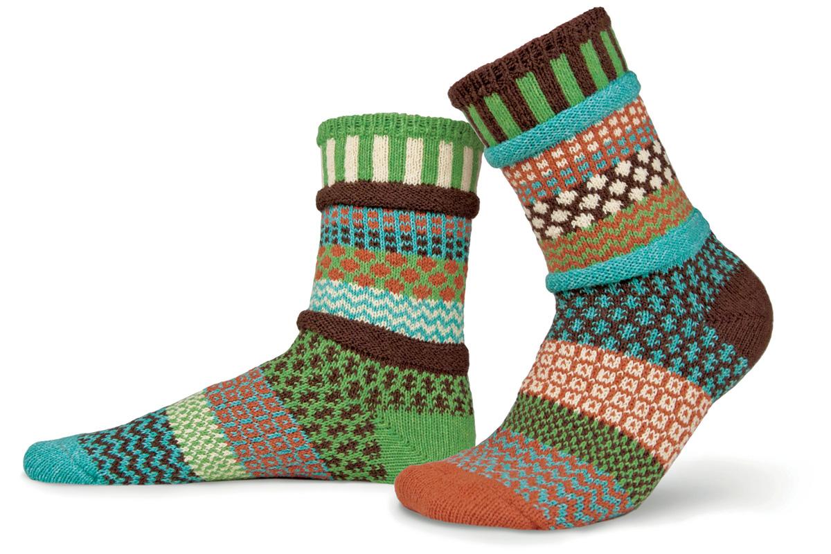 Носки Solmate Socks September Sun, цвет: зеленый, коричневый. 171965. Размер 41/43