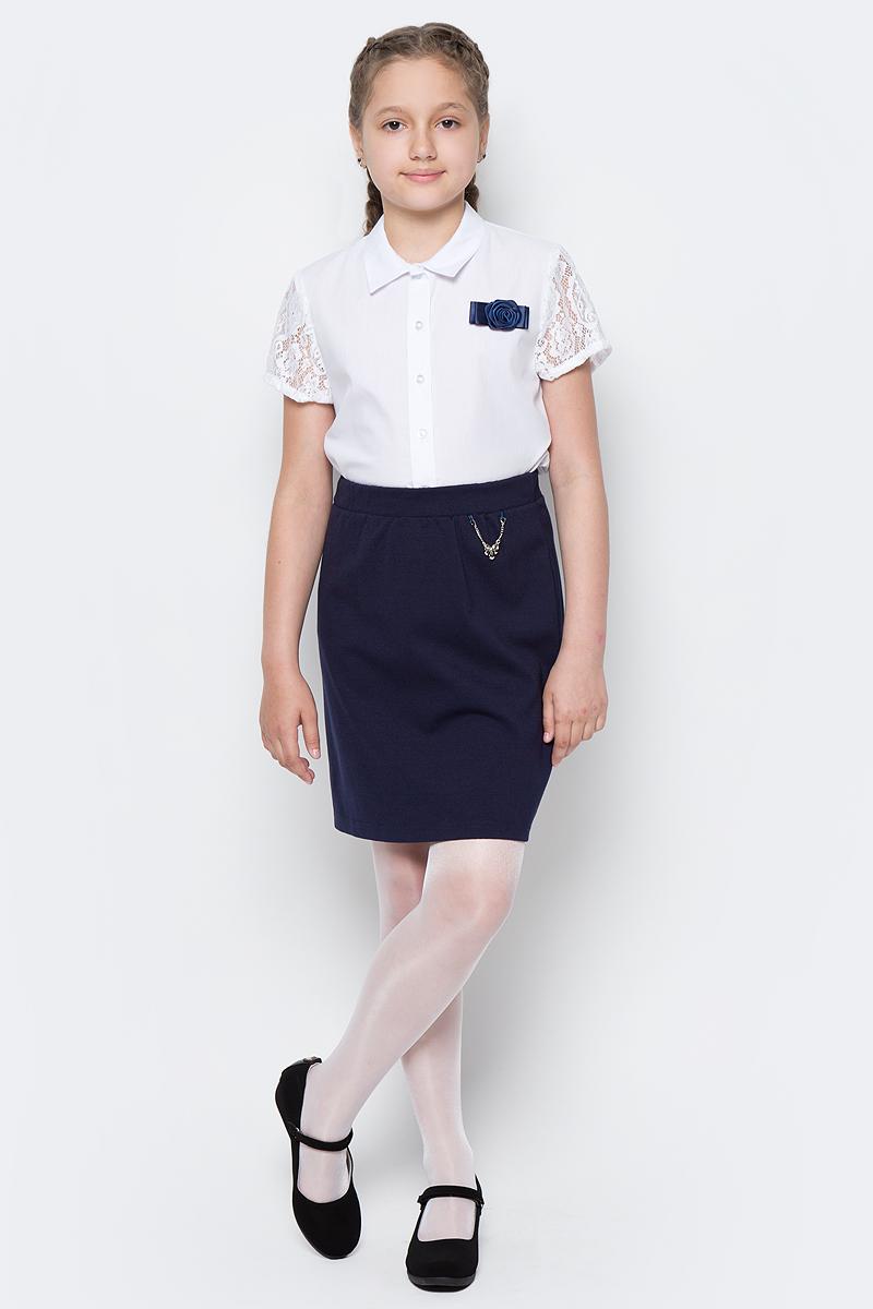 Юбка для девочки Nota Bene, цвет: темно-синий. CJA27007B29. Размер 164CJA27007B29/CJA27007A29Стильная юбка для девочки от Nota Bene выполнена из хлопка и полиэстера с добавлением лайкры. Юбка-миди имеет эластичную резинку на талии.