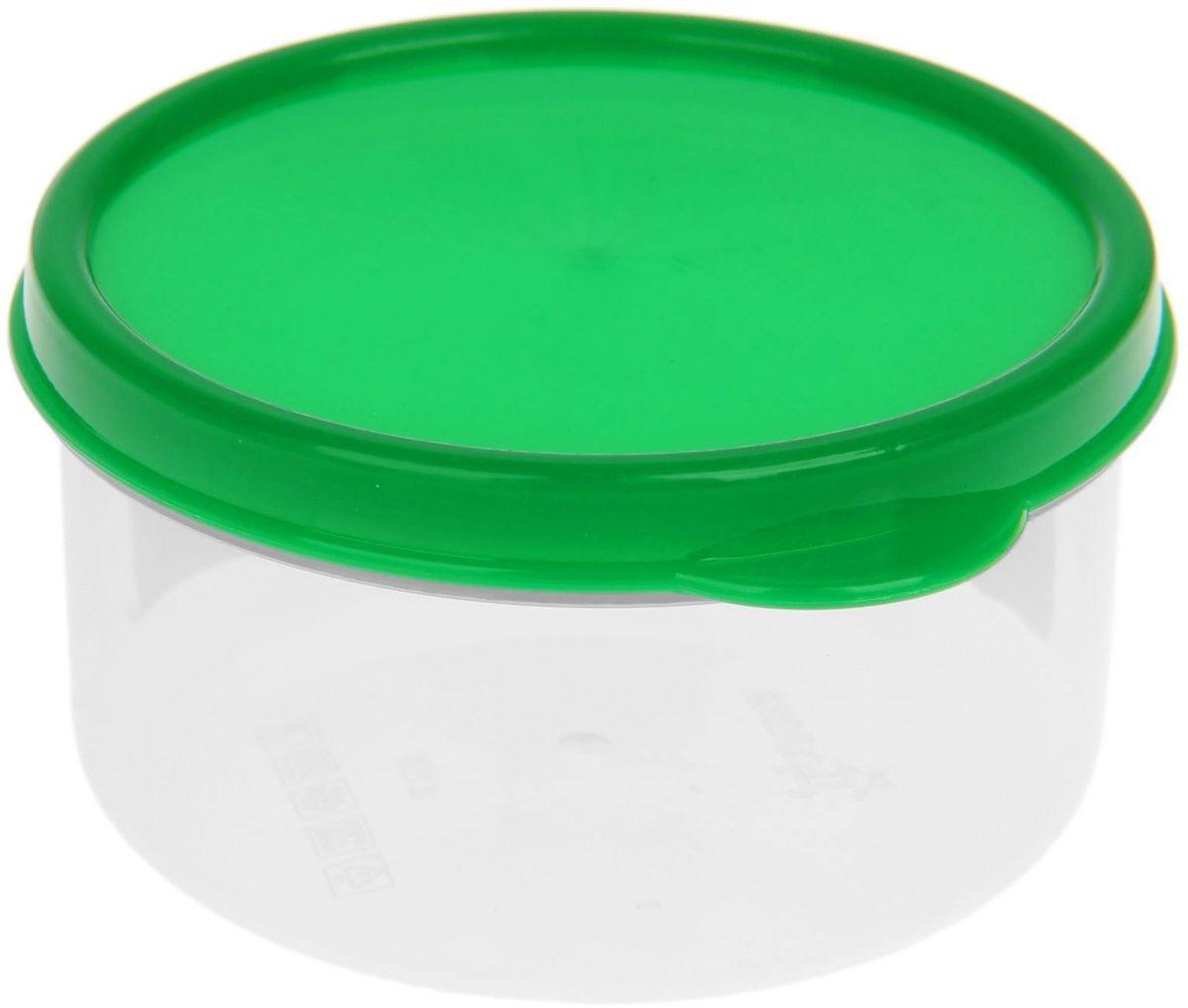 Контейнер пищевой Доляна, круглый, цвет: зеленый, 150 мл1333815Если после вкусного обеда осталась еда, а насладиться трапезой хочется и на следующий день, контейнер станет отличным решением данной проблемы!В качестве материала для изготовления используется пластик, что делает процесс ухода за контейнером ещё более эффективным. К контейнеру в комплекте также прилагается крышка подходящего размера, это позволяет плотно и надёжно удерживать запах еды и упрощает процесс транспортировки. Эргономичный дизайн и многофункциональность контейнера Доляна - вот, что является причиной большой популярности данного предмета у каждой хозяйки.