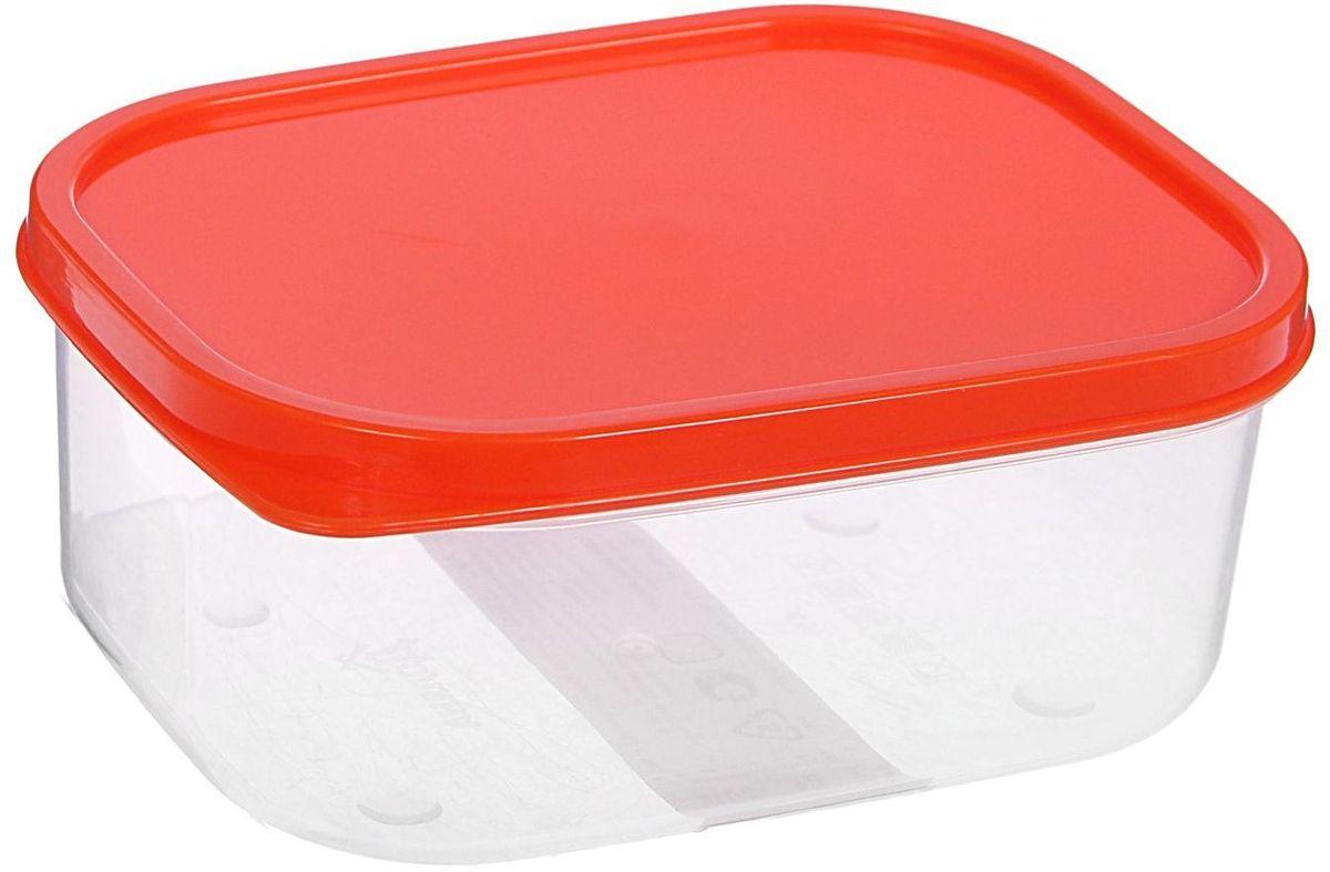 """Контейнер пищевой """"Доляна"""", цвет: прозрачный, оранжевый, 500 мл"""