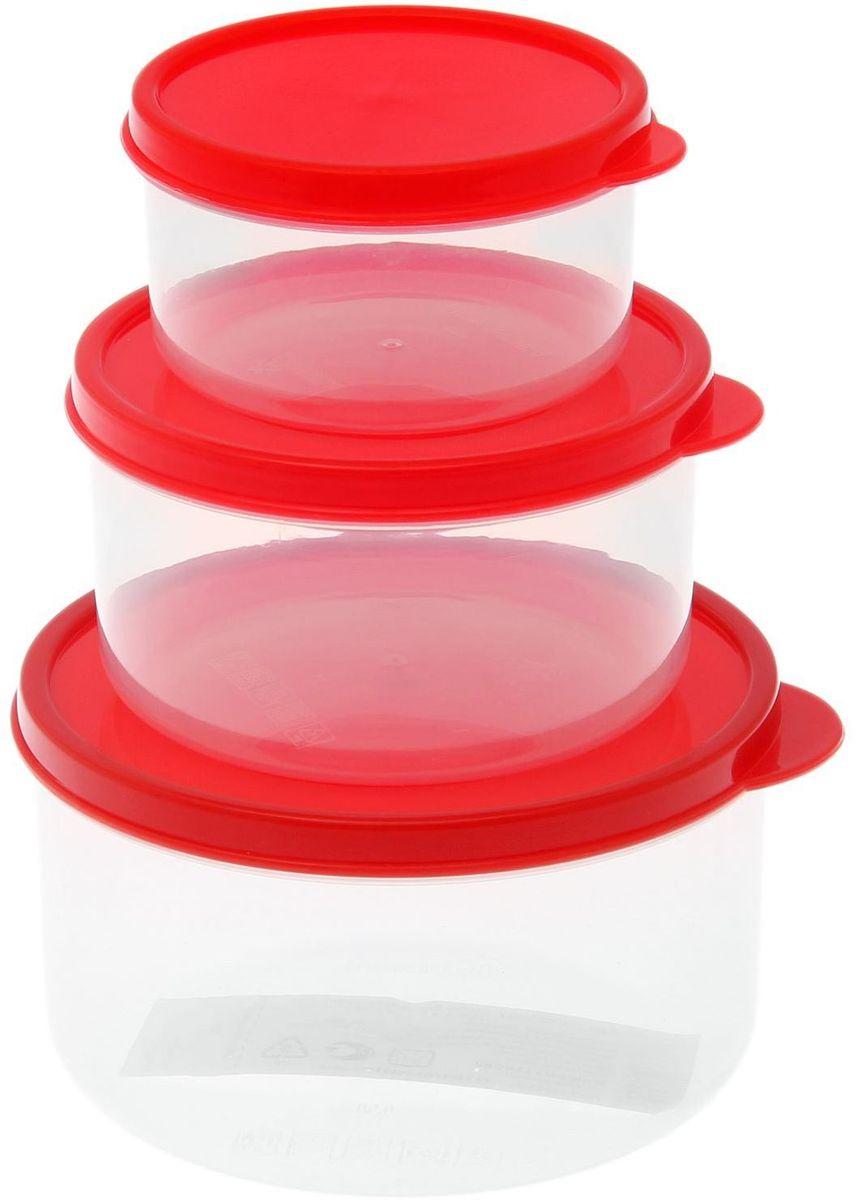 Набор пищевых контейнеров Доляна, круглые, цвет: красный, 3 шт1333867Если после вкусного обеда осталась еда, а насладиться трапезой хочется и на следующий день, ланч-бокс станет отличным решением данной проблемы!Такой контейнер является незаменимым предметом кухонной утвари, ведь у него много преимуществ:Простота ухода. Ланч-бокс достаточно промыть тёплой водой с небольшим количеством чистящего средства, и он снова готов к использованию.Вместительность. Большой выбор форм и объёма поможет разместить разнообразные продукты от сахара до супов.Эргономичность. Ланч-боксы очень легко хранить даже в самой маленькой кухне, так как их можно поставить один в другой по принципу матрёшки.Многофункциональность. Разнообразие цветов и форм делает возможным использование контейнеров не только на кухне, но и в других областях домашнего быта.Любители приготовления обеда на всю семью в большинстве случаев приобретают ланч-боксы наборами, так как это позволяет рассортировать продукты по всевозможным признакам. К тому же контейнеры среднего размера станут незаменимыми помощниками на работе: ведь что может быть приятнее, чем порадовать себя во время обеда прекрасной едой, заботливо сохранённой в контейнере?В качестве материала для изготовления используется пластик, что делает процесс ухода за контейнером ещё более эффективным. К каждому ланч-боксу в комплекте также прилагается крышка подходящего размера, это позволяет плотно и надёжно удерживать запах еды и упрощает процесс транспортировки.Однако рекомендуется соблюдать и меры предосторожности: не использовать пластиковые контейнеры в духовых шкафах и на открытом огне, а также не разогревать в микроволновых печах при закрытой крышке ланч-бокса. Соблюдение мер безопасности позволит продлить срок эксплуатации и сохранить отличный внешний вид изделия.Эргономичный дизайн и многофункциональность таких контейнеров — вот, что является причиной большой популярности данного предмета у каждой хозяйки. А в преддверии лета и дачного сезона такое пр