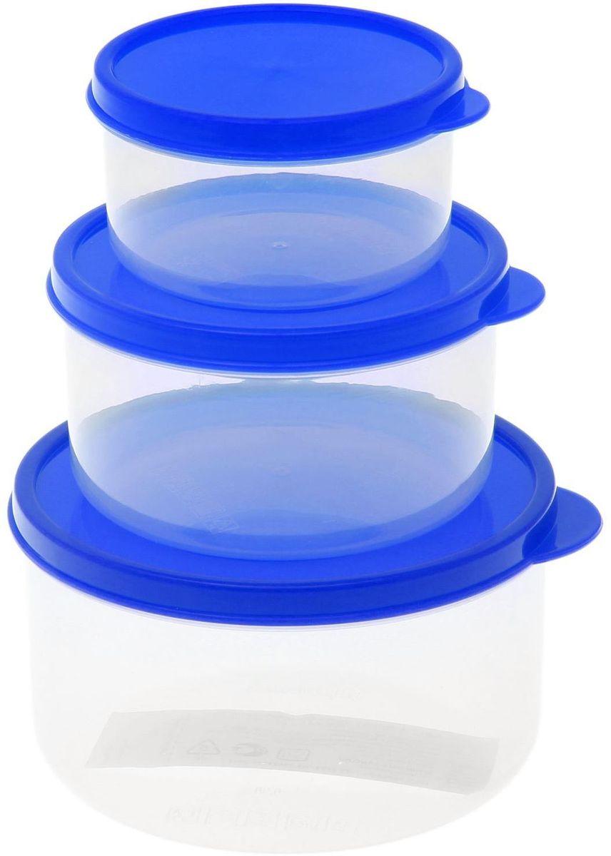 Набор пищевых контейнеров Доляна, круглые, цвет: синий, 3 шт1333868Если после вкусного обеда осталась еда, а насладиться трапезой хочется и на следующий день, ланч-бокс станет отличным решением данной проблемы!Такой контейнер является незаменимым предметом кухонной утвари, ведь у него много преимуществ:Простота ухода. Ланч-бокс достаточно промыть тёплой водой с небольшим количеством чистящего средства, и он снова готов к использованию.Вместительность. Большой выбор форм и объёма поможет разместить разнообразные продукты от сахара до супов.Эргономичность. Ланч-боксы очень легко хранить даже в самой маленькой кухне, так как их можно поставить один в другой по принципу матрёшки.Многофункциональность. Разнообразие цветов и форм делает возможным использование контейнеров не только на кухне, но и в других областях домашнего быта.Любители приготовления обеда на всю семью в большинстве случаев приобретают ланч-боксы наборами, так как это позволяет рассортировать продукты по всевозможным признакам. К тому же контейнеры среднего размера станут незаменимыми помощниками на работе: ведь что может быть приятнее, чем порадовать себя во время обеда прекрасной едой, заботливо сохранённой в контейнере?В качестве материала для изготовления используется пластик, что делает процесс ухода за контейнером ещё более эффективным. К каждому ланч-боксу в комплекте также прилагается крышка подходящего размера, это позволяет плотно и надёжно удерживать запах еды и упрощает процесс транспортировки.Однако рекомендуется соблюдать и меры предосторожности: не использовать пластиковые контейнеры в духовых шкафах и на открытом огне, а также не разогревать в микроволновых печах при закрытой крышке ланч-бокса. Соблюдение мер безопасности позволит продлить срок эксплуатации и сохранить отличный внешний вид изделия.Эргономичный дизайн и многофункциональность таких контейнеров — вот, что является причиной большой популярности данного предмета у каждой хозяйки. А в преддверии лета и дачного сезона такое прио