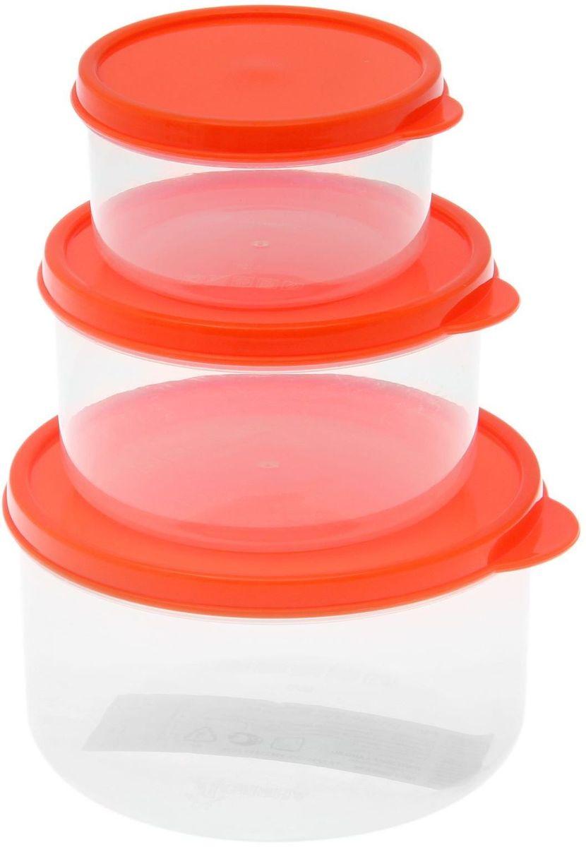 Набор пищевых контейнеров Доляна, круглые, цвет: оранжевый, 3 шт1333869Если после вкусного обеда осталась еда, а насладиться трапезой хочется и на следующий день, ланч-бокс станет отличным решением данной проблемы! Такой контейнер является незаменимым предметом кухонной утвари, ведь у него много преимуществ: Простота ухода. Ланч-бокс достаточно промыть тёплой водой с небольшим количеством чистящего средства, и он снова готов к использованию. Вместительность. Большой выбор форм и объёма поможет разместить разнообразные продукты от сахара до супов. Эргономичность. Ланч-боксы очень легко хранить даже в самой маленькой кухне, так как их можно поставить один в другой по принципу матрёшки. Многофункциональность. Разнообразие цветов и форм делает возможным использование контейнеров не только на кухне, но и в других областях домашнего быта. Любители приготовления обеда на всю семью в большинстве случаев приобретают ланч-боксы наборами, так как это позволяет рассортировать продукты по всевозможным признакам. К тому же контейнеры среднего размера станут незаменимыми помощниками на работе: ведь что может быть приятнее, чем порадовать себя во время обеда прекрасной едой, заботливо сохранённой в контейнере? В качестве материала для изготовления используется пластик, что делает процесс ухода за контейнером ещё более эффективным. К каждому ланч-боксу в комплекте также прилагается крышка подходящего размера, это позволяет плотно и надёжно удерживать запах еды и упрощает процесс транспортировки. Однако рекомендуется соблюдать и меры предосторожности: не использовать пластиковые контейнеры в духовых шкафах и на открытом огне, а также не разогревать в микроволновых печах при закрытой крышке ланч-бокса. Соблюдение мер безопасности позволит продлить срок эксплуатации и сохранить отличный внешний вид изделия. Эргономичный дизайн и многофункциональность таких контейнеров — вот, что является причиной большой популярности данного предмета у каждой хозяйки. А в преддверии лета и дачного сезо