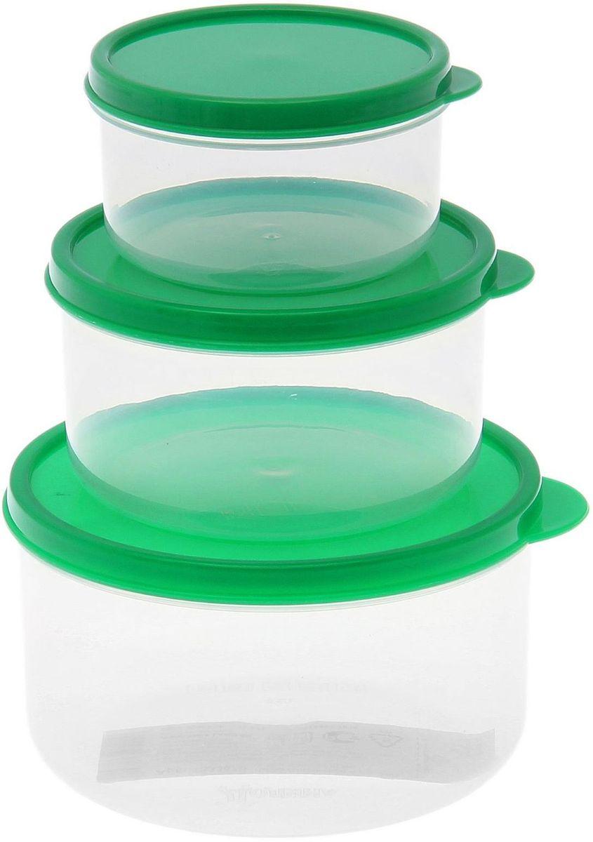 Набор пищевых контейнеров Доляна, круглые, цвет: зеленый, 3 шт1333870Контейнер является незаменимым предметом кухонной утвари, ведь у него много преимуществ:Простота ухода. Контейнер достаточно промыть тёплой водой с небольшим количеством чистящего средства, и он снова готов к использованию.Вместительность. Большой выбор форм и объёма поможет разместить разнообразные продукты от сахара до супов.Эргономичность. Контейнеры очень легко хранить даже в самой маленькой кухне, так как их можно поставить один в другой по принципу матрёшки.Многофункциональность. Разнообразие цветов и форм делает возможным использование контейнеров не только на кухне, но и в других областях домашнего быта.В качестве материала для изготовления используется пластик, что делает процесс ухода за контейнером ещё более эффективным. К каждому контейнеру в комплекте также прилагается крышка подходящего размера, это позволяет плотно и надёжно удерживать запах еды и упрощает процесс транспортировки.Однако рекомендуется соблюдать и меры предосторожности: не использовать пластиковые контейнеры в духовых шкафах и на открытом огне, а также не разогревать в микроволновых печах при закрытой крышке контейнера. Соблюдение мер безопасности позволит продлить срок эксплуатации и сохранить отличный внешний вид изделия.
