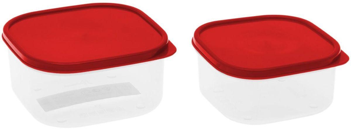 Набор пищевых контейнеров Доляна, цвет: красный, 2 шт1333877Если после вкусного обеда осталась еда, а насладиться трапезой хочется и на следующий день, ланч-бокс станет отличным решением данной проблемы! Такой контейнер является незаменимым предметом кухонной утвари, ведь у него много преимуществ: Простота ухода. Ланч-бокс достаточно промыть тёплой водой с небольшим количеством чистящего средства, и он снова готов к использованию. Вместительность. Большой выбор форм и объёма поможет разместить разнообразные продукты от сахара до супов. Эргономичность. Ланч-боксы очень легко хранить даже в самой маленькой кухне, так как их можно поставить один в другой по принципу матрёшки. Многофункциональность. Разнообразие цветов и форм делает возможным использование контейнеров не только на кухне, но и в других областях домашнего быта. Любители приготовления обеда на всю семью в большинстве случаев приобретают ланч-боксы наборами, так как это позволяет рассортировать продукты по всевозможным признакам. К тому же контейнеры среднего размера станут незаменимыми помощниками на работе: ведь что может быть приятнее, чем порадовать себя во время обеда прекрасной едой, заботливо сохранённой в контейнере? В качестве материала для изготовления используется пластик, что делает процесс ухода за контейнером ещё более эффективным. К каждому ланч-боксу в комплекте также прилагается крышка подходящего размера, это позволяет плотно и надёжно удерживать запах еды и упрощает процесс транспортировки. Однако рекомендуется соблюдать и меры предосторожности: не использовать пластиковые контейнеры в духовых шкафах и на открытом огне, а также не разогревать в микроволновых печах при закрытой крышке ланч-бокса. Соблюдение мер безопасности позволит продлить срок эксплуатации и сохранить отличный внешний вид изделия. Эргономичный дизайн и многофункциональность таких контейнеров — вот, что является причиной большой популярности данного предмета у каждой хозяйки. А в преддверии лета и дачного сезона такое пр
