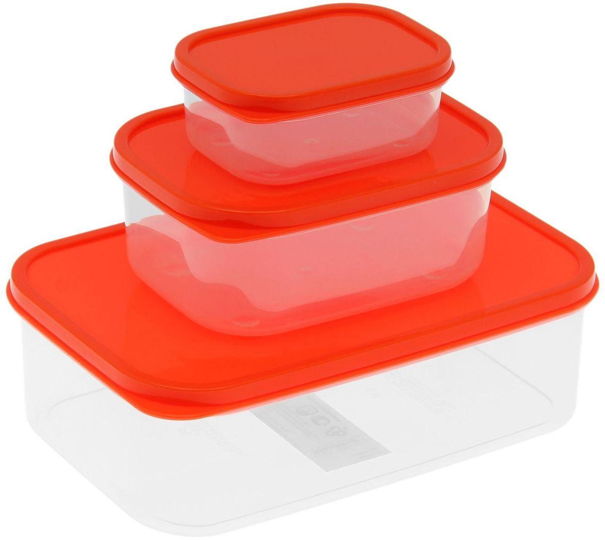 Набор пищевых контейнеров Доляна, цвет: оранжевый, 3 шт1333884Если после вкусного обеда осталась еда, а насладиться трапезой хочется и на следующий день, ланч-бокс станет отличным решением данной проблемы!Такой контейнер является незаменимым предметом кухонной утвари, ведь у него много преимуществ:Простота ухода. Ланч-бокс достаточно промыть тёплой водой с небольшим количеством чистящего средства, и он снова готов к использованию.Вместительность. Большой выбор форм и объёма поможет разместить разнообразные продукты от сахара до супов.Эргономичность. Ланч-боксы очень легко хранить даже в самой маленькой кухне, так как их можно поставить один в другой по принципу матрёшки.Многофункциональность. Разнообразие цветов и форм делает возможным использование контейнеров не только на кухне, но и в других областях домашнего быта.Любители приготовления обеда на всю семью в большинстве случаев приобретают ланч-боксы наборами, так как это позволяет рассортировать продукты по всевозможным признакам. К тому же контейнеры среднего размера станут незаменимыми помощниками на работе: ведь что может быть приятнее, чем порадовать себя во время обеда прекрасной едой, заботливо сохранённой в контейнере?В качестве материала для изготовления используется пластик, что делает процесс ухода за контейнером ещё более эффективным. К каждому ланч-боксу в комплекте также прилагается крышка подходящего размера, это позволяет плотно и надёжно удерживать запах еды и упрощает процесс транспортировки.Однако рекомендуется соблюдать и меры предосторожности: не использовать пластиковые контейнеры в духовых шкафах и на открытом огне, а также не разогревать в микроволновых печах при закрытой крышке ланч-бокса. Соблюдение мер безопасности позволит продлить срок эксплуатации и сохранить отличный внешний вид изделия.Эргономичный дизайн и многофункциональность таких контейнеров — вот, что является причиной большой популярности данного предмета у каждой хозяйки. А в преддверии лета и дачного сезона такое приобрете
