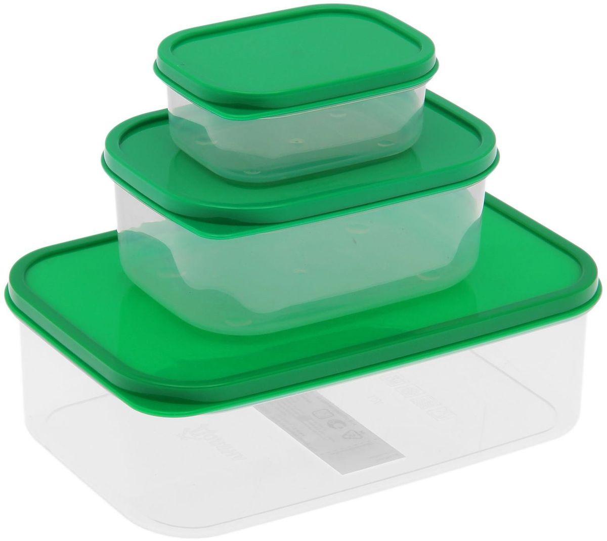 Набор пищевых контейнеров Доляна, цвет: зеленый, 3 шт1333885Если после вкусного обеда осталась еда, а насладиться трапезой хочется и на следующий день, ланч-бокс станет отличным решением данной проблемы!Такой контейнер является незаменимым предметом кухонной утвари, ведь у него много преимуществ:Простота ухода. Ланч-бокс достаточно промыть тёплой водой с небольшим количеством чистящего средства, и он снова готов к использованию.Вместительность. Большой выбор форм и объёма поможет разместить разнообразные продукты от сахара до супов.Эргономичность. Ланч-боксы очень легко хранить даже в самой маленькой кухне, так как их можно поставить один в другой по принципу матрёшки.Многофункциональность. Разнообразие цветов и форм делает возможным использование контейнеров не только на кухне, но и в других областях домашнего быта.Любители приготовления обеда на всю семью в большинстве случаев приобретают ланч-боксы наборами, так как это позволяет рассортировать продукты по всевозможным признакам. К тому же контейнеры среднего размера станут незаменимыми помощниками на работе: ведь что может быть приятнее, чем порадовать себя во время обеда прекрасной едой, заботливо сохранённой в контейнере?В качестве материала для изготовления используется пластик, что делает процесс ухода за контейнером ещё более эффективным. К каждому ланч-боксу в комплекте также прилагается крышка подходящего размера, это позволяет плотно и надёжно удерживать запах еды и упрощает процесс транспортировки.Однако рекомендуется соблюдать и меры предосторожности: не использовать пластиковые контейнеры в духовых шкафах и на открытом огне, а также не разогревать в микроволновых печах при закрытой крышке ланч-бокса. Соблюдение мер безопасности позволит продлить срок эксплуатации и сохранить отличный внешний вид изделия.Эргономичный дизайн и многофункциональность таких контейнеров — вот, что является причиной большой популярности данного предмета у каждой хозяйки. А в преддверии лета и дачного сезона такое приобретени