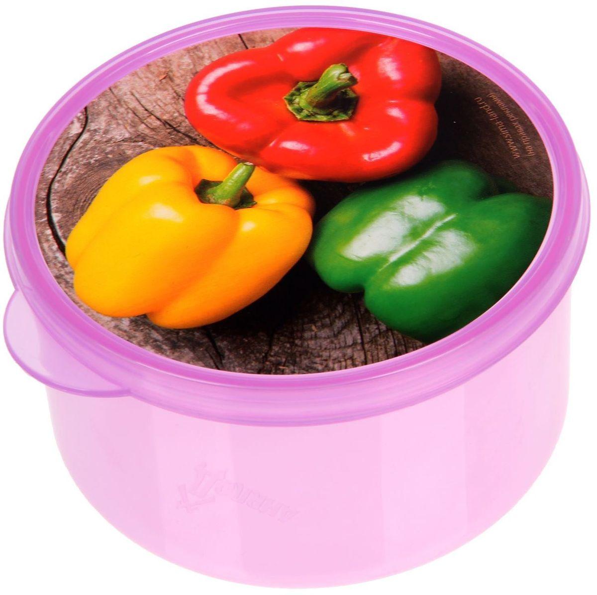 Ланч-бокс Доляна Перчики, круглый, 500 мл1699867Ланч-бокс Доляна изготовлен из прочного пищевого пластика. В комплекте прилагается крышка подходящего размера, которая плотно и надежно закрывается и упрощает процесс транспортировки. Такой контейнер является незаменимым предметом кухонной утвари, ведь у него много преимуществ: Простота ухода. Ланч-бокс достаточно промыть теплой водой с небольшим количеством чистящего средства. Вместительность. Изделие позволяет разместить разнообразные продукты от сахара до супов. Эргономичность. Ланч-боксы очень легко хранить даже в самой маленькой кухне, так как их можно поставить один в другой по принципу матрешки. Многофункциональность. Он пригодится, если после вкусного обеда осталась еда, а насладиться трапезой хочется и на следующий день. Можно использовать не только на кухне, но и для хранения различных бытовых предметов, а также брать с собой еду на работу или учебу. Не использовать пластиковые контейнеры в духовых шкафах и на открытом огне, а также не разогревать в микроволновых печах при закрытой крышке ланч-бокса.