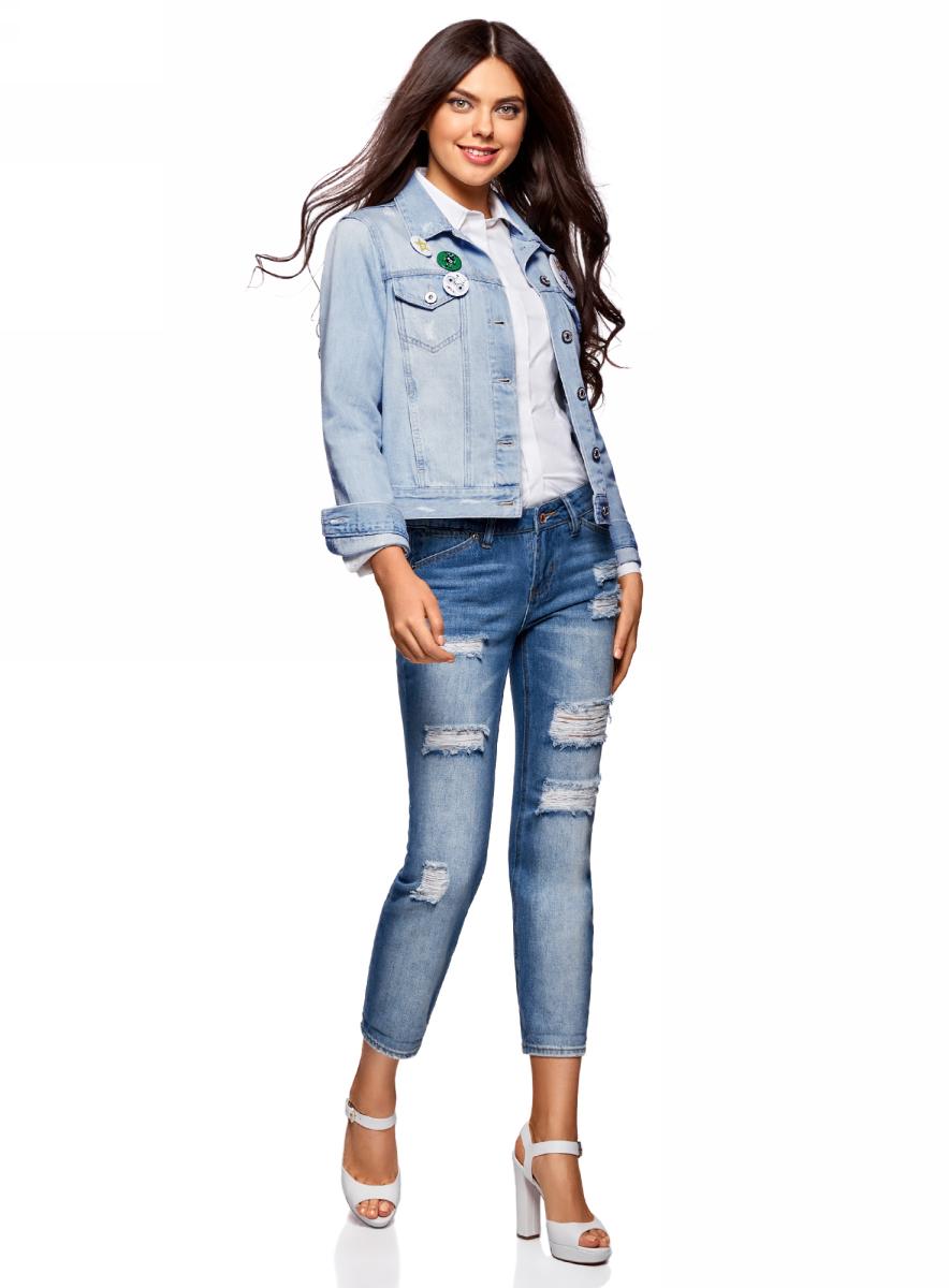 Куртка джинсовая женская oodji Ultra, цвет: голубой джинс. 11109031/46654/7000W. Размер 36-170 (42-170)11109031/46654/7000WКуртка джинсовая от oodji со значками выполнена из натурального хлопка. Модель с длинными рукавами и отложным воротником застегивается на пуговицы.