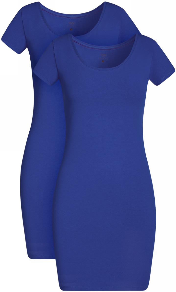 Платье oodji Ultra, цвет: синий, 2 шт. 14001182T2/47420/7500N. Размер XXS (40)14001182T2/47420/7500NТрикотажное платье oodji изготовлено из качественного эластичного хлопка. Облегающая модель выполнена с круглым вырезом горловины и короткими рукавами. В комплекте 2 платья.