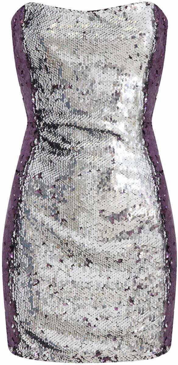Платье oodji Ultra, цвет: фиолетовый, серебряный металлик. 11905020-2/24472/8391X. Размер 40-170 (46-170)11905020-2/24472/8391XСтильное платье oodji изготовлено из качественного плотного материала. Модель с открытым верхом застегивается сзади на молнию. Передняя часть платья декорирована блестящими пайетками.