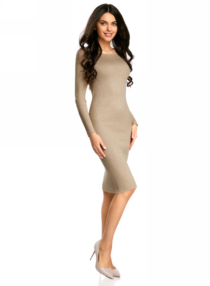 Платье oodji Collection, цвет: бежевый меланж. 73912207-2B/45647/3300M. Размер S (44)73912207-2B/45647/3300MВязаное платье в рубчик от oodji выполнено из вискозной пряжи с добавлением полиамида. Модель длины миди с длинными рукавами и круглым вырезом горловины.