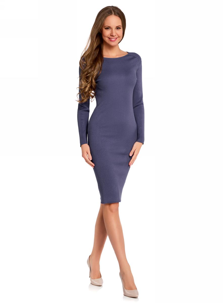 Платье oodji Collection, цвет: синий. 73912207-2B/24525/7500N. Размер XL (50)73912207-2B/24525/7500NВязаное платье в рубчик от oodji выполнено из вискозной пряжи с добавлением полиамида. Модель длины миди с длинными рукавами и круглым вырезом горловины.