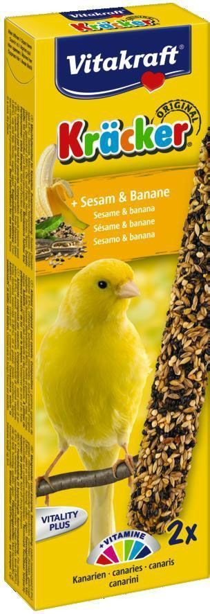Крекеры для канареек Vitakraft, с кунжутом и бананом, 2 шт21255Питательный крекер является дополнительным источником витаминов и минералов. Изготовлен по уникальной технологии 3-х ступенчатого запекания. Натуральная деревянная палочка и зажим для крепления в клетке делают лакомство удобным в использовании. Состав: зерно, фрукты (2,5% банана), минералы, мед, лецитин. Добавки на 1 кг продукта: витамин А - 4000 МЕ, витамин D3 - 750 МЕ. Пищевая ценность на 100 г продукта: белок - 16 г, жир - 13,5 г, клетчатка - 7,7 г, зола - 7 г, кальций - 1,35 г, фосфор - 0,65 г. Товар сертифицирован.
