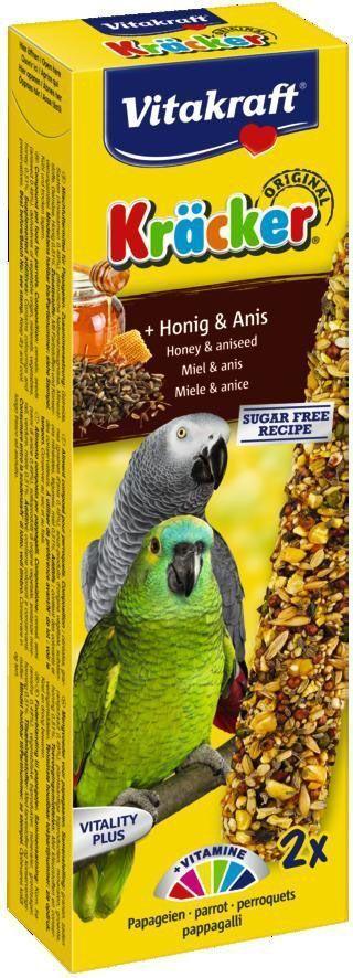 Крекеры для африканских попугаев Vitakraft, медовые, 2 шт21287Крекер содержит жизненно необходимые минералы и витамины. Мотивирует птицу самостоятельно добывать себе зерно, как в дикой природе. Натуральная деревянная палочка и зажим для крепления в клетке делают лакомство полезным и удобным в использовании. Состав: зерно, семена, мед, растительные и минеральные вещества. Товар сертифицирован.