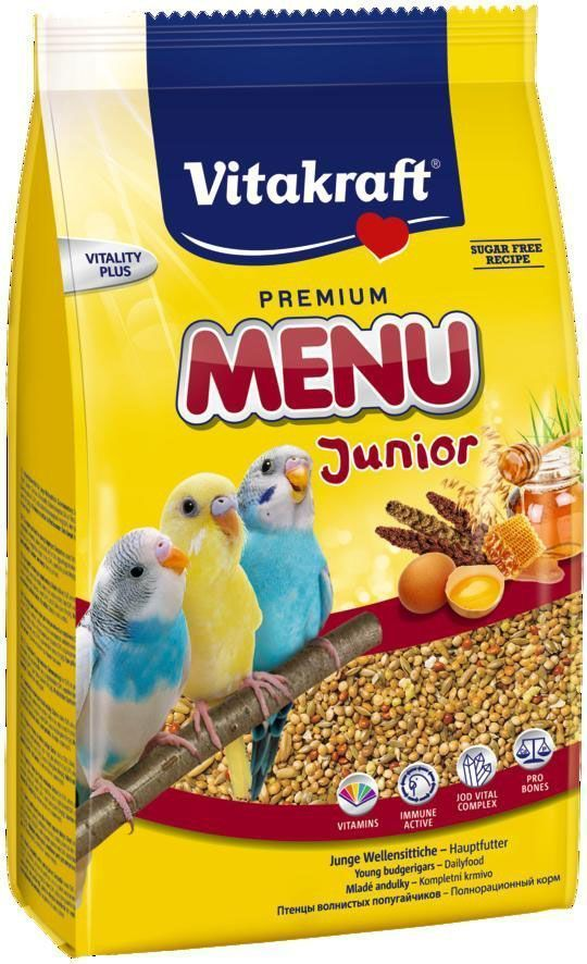 Корм для птенцов волнистых попугаев Vitakraft Menu, 500 г корм для птиц vitakraft menu для средних попугаев 1кг