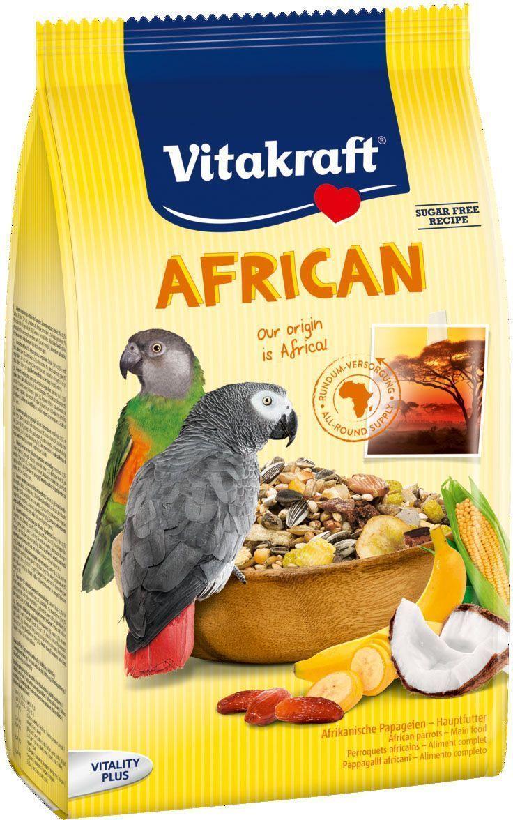 Корм для крупных попугаев Vitakraft African, 750 г корм vitakraft menu для крупных попугаев основной 1 кг