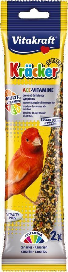 Крекеры для канареек Vitakraft, мультивитамин, 2 шт21195Специальный крекер, обогащенный витаминами. Мотивирует птицу самостоятельно добывать себе зерно, как в дикой природе. Натуральная деревянная палочка и зажим для крепления в клетке делают лакомство полезным и удобным в использовании. Состав: зерно, семена, растительные и минеральные вещества, лецитин. Добавки: витамин А, витамин С, витамин Е, витамины группы В. Пищевая ценность на 100 г продукта: белок - 16 г, жир - 13,5 г, клетчатка - 7,7 г, зола - 7 г, кальций - 1,35 г, фосфор - 0,65 г. Товар сертифицирован.
