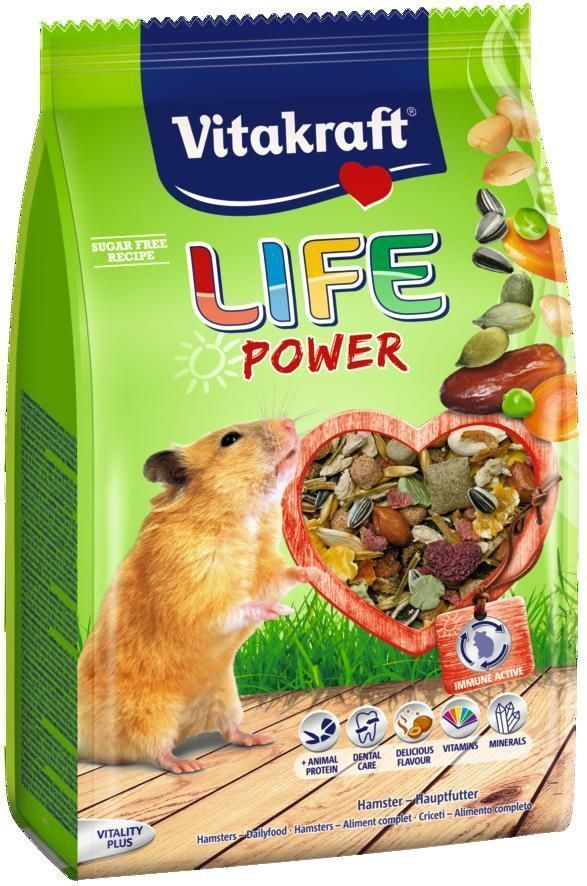 Корм для хомяков Vitakraft Life Power, 300 г25363Комбинированный корм для активных хомяков с отборными семенами, финиками, орехами и тыквенными семечками, обеспечивает необходимыми витаминами и микроэлементами. Бета-глюканы укрепляют иммунную систему. Сырая клетчатка способствует пищеварению. Состав: компоненты растительного происхождения, злаки, овощи, фрукты, тростниковая патока, минералы, растительные масла и жиры, яйцо, листья крапивы, двухдомный солод.Анализ состава: растительный протеин 12,5%, растительные жиры 7,4%, клетчатка 8,8%, влага 11%, углеводы 57,3%, кальций 0, 47%, фосфор 0,43%. Товар сертифицирован.