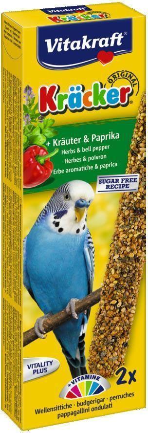 Крекеры для волнистых попугаев Vitakraft, с травами, 2 шт21280Крекер содержит жизненно необходимые минералы и витамины, дополнительно содержит экстракты трав, полезен для перьев и делает птицу жизнерадостной, так как она должна самостоятельно каждый раз добывать себе зерно, как в дикой природе. Состав: зерновые, тимьян, подорожник, базилик, водоросли, мед, растительные и минеральные вещества. Добавки: витамин A, витамин D3, витамин E. Пищевая ценность на 100 г продукта: протеин - 10,5 г, жиры - 3 г, клетчатка - 8,5 г, зола - 6 г, кальций - 0,8 г, фосфор - 0,45 г. Товар сертифицирован.