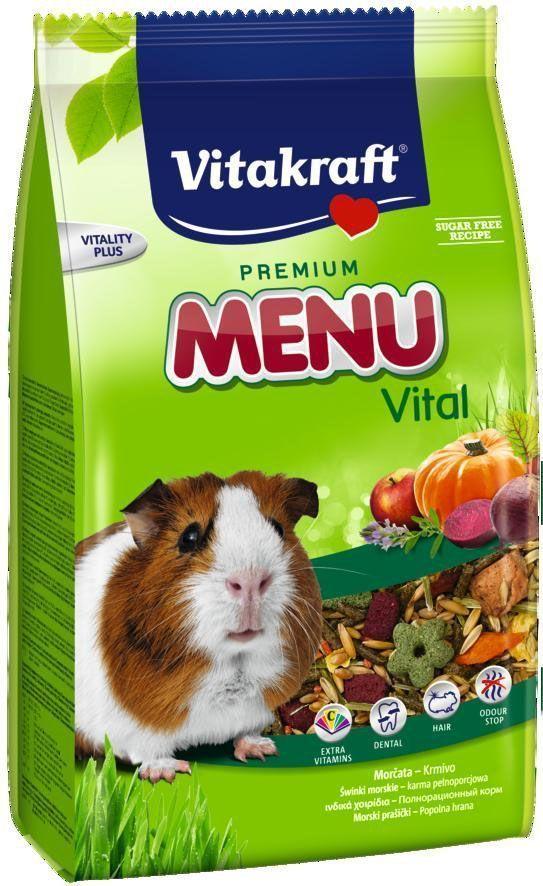 Корм для морских свинок Vitakraft Menu Vital, 400 г10646Полнорационный корм для морских свинок. Высококачественные протеины обеспечивают жизненно важные аминокислоты. Линолиевая кислота, цинк и биотин питают волосяной покров и обеспечивают здоровую и красивую шерсть. Экстракт юкки уменьшает неприятный запах. Обогащен витамином С. Состав: злаки 54,8%, продукты растительного происхождения, овощи (свекла 2,6%, тыква 1%), фрукты (яблоко 1%), минералы, масла и жиры, экстракт юкки. Анализ состава: 12% клетчатка.Добавки: витамин А 12965 МЕ, витамин Д3 831 МЕ, витамин С 413 мг, биотин 188 мкг, кобальт 0,04 мг, селен 0,115 мг, железо 106,33 мг, йод 0,06 мг, медь 4,83 мг, марганец 12,39 мг, цинк 17,13 мг.Товар сертифицирован.