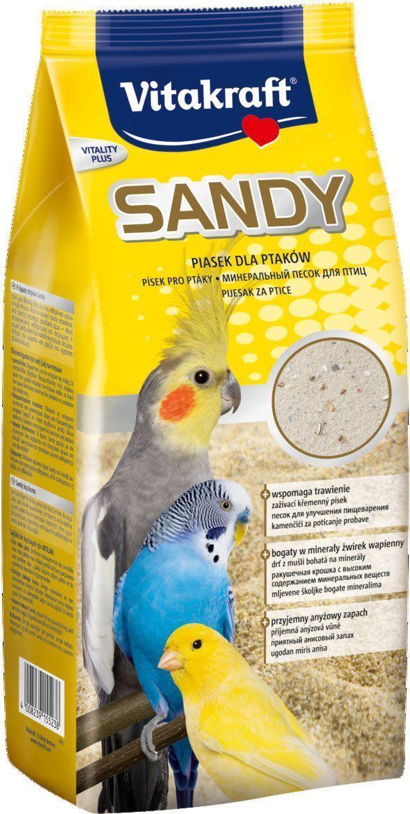 Песок для птиц Vitakraft Sandy, 2,5 кг15523Идеальное гигиеническое средство для поддержания чистоты в птичьей клетке. Натуральный продукт, в состав которого входит высококачественный круглозернистый кварцевый песок, промытый и высушенный. Гигиеническая подстилка, разработанная с учетом биологических потребностей и физиологических особенностей вида, отлично абсорбирует влагу и обеспечивает приятную свежесть. Способствует размельчению зерен и семян в желудке птицы, является источником минеральных веществ и микроэлементов. Насыщает воздух в клетке приятной свежестью с тонким ароматом аниса.