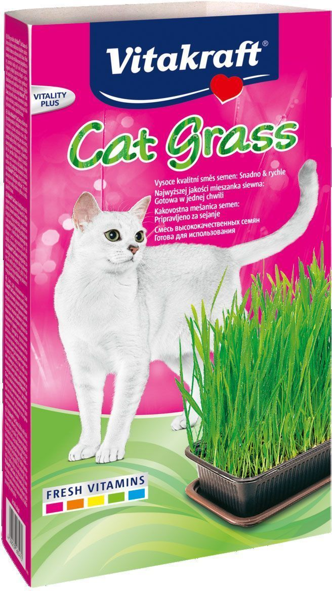 Смесь для проращивания свежей травы Vitakraft, для кошек, лоток, 120 г26547Смесь для проращивания трав позволит в любое время года пополнить рацион вашей кошки вкусной и полезной для здоровья травой. Эта важная пищевая добавка к рациону ваших питомцев, которым в процессе каждодневного груминга, в частности, вылизывания, приходится проглатывать достаточно много шерсти, поможет естественным путем вывести комки шерсти без осложнений для желудочно-кишечного тракта.