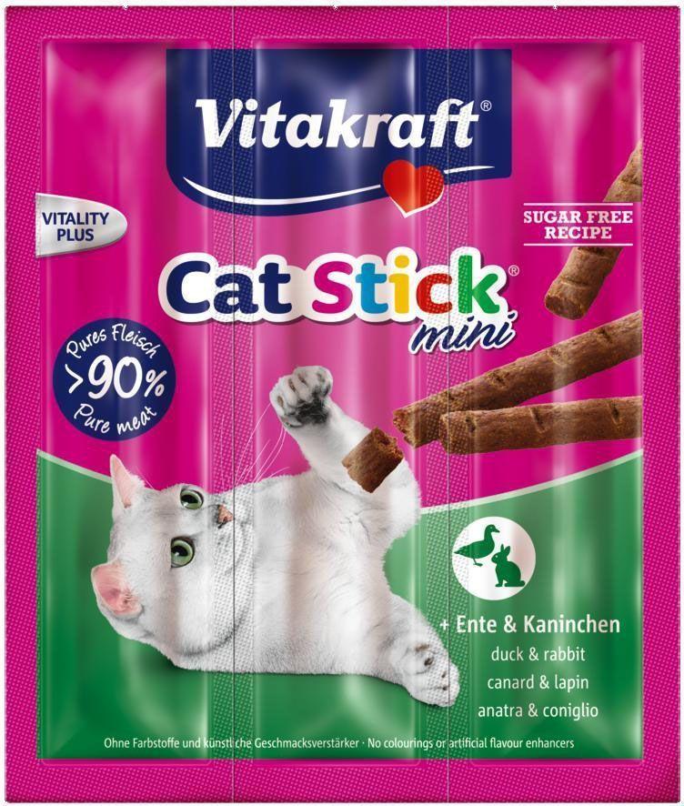 Лакомство для кошек Vitakraft Cat-Stick Mini, мясные колбаски с уткой и кроликом, 3 х 6 г18200Натуральные мясные колбаски без красителей и консервантов. Служат вкусным,питательным дополнением к основному корму, используются также для поощрения кошек.Состав: мясо и мясные субпродукты (утка - 6%, кролик - 6%), дрожжи,минеральные вещества, сахар. Гарантированный анализ: Протеин - 31,0% Жиры - 22,0% Клетчатка - 2,0% Зола -9,0%. Товар сертифицирован.
