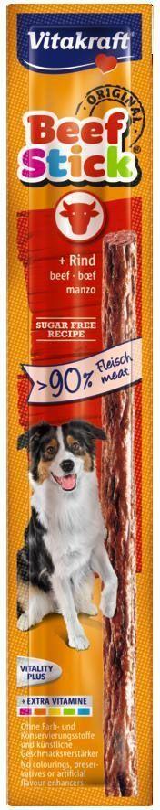Колбаска для собак Vitakraft Beef-Stick, говядина, 12 г26500Колбаска для собак Vitakraft Beef-Stick содержит большое количество мяса и подходит для собак любых размеров. Она используются в качестве дополнения к основному корму и для поощрения при дерессировке. Лакомство не содержит консервантов, красящих веществ и искусственных усилителей вкуса.Состав: мясо и мясные субпродукты(94%, из них 68% мясо крупного рогатого скота), минеральные вещества, продукты растительного происхождения, злаки.