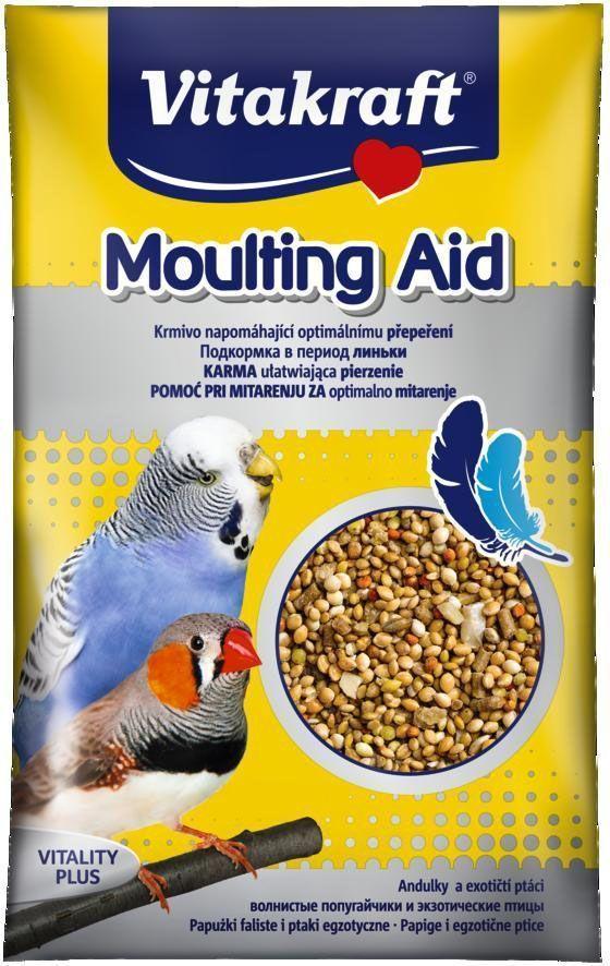 Подкормка для волнистых попугаев Vitakraft Moulting Aid, в период линьки, 20 г20183Подкормка для растущих попугаев в период линьки. При употреблении подкормки, линька проходит легко и без нарушения здоровья. Состав: Злаки, минералы, сахар, масла и жиры.Анализ состава: протеин - 9%, жиры - 5,5%, клетчатка - 8%, зола - 19%, влажность - 9%, кальций - 6,7%, фосфор - 0,5%. Товар сертифицирован.