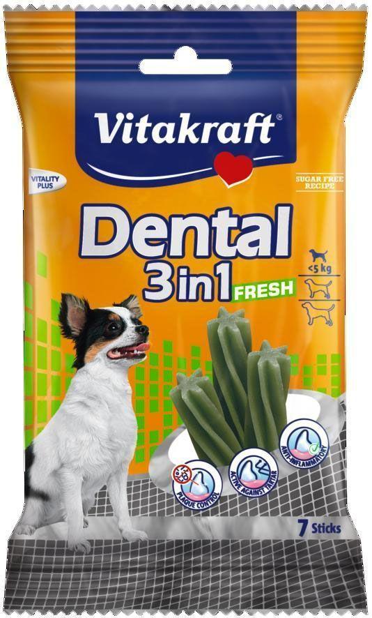 Лакомство Vitakraft Dental 3in1 Fresh для собак до 5 кг, жевательные палочки, 7 шт30890Жевательные палочки для собак предотвращают образование зубного камня, удаляют налет и уменьшают запах изо рта. Предохраняют от заболеваний полости рта. На мясной основе с добавлением масла мяты. Товар сертифицирован.