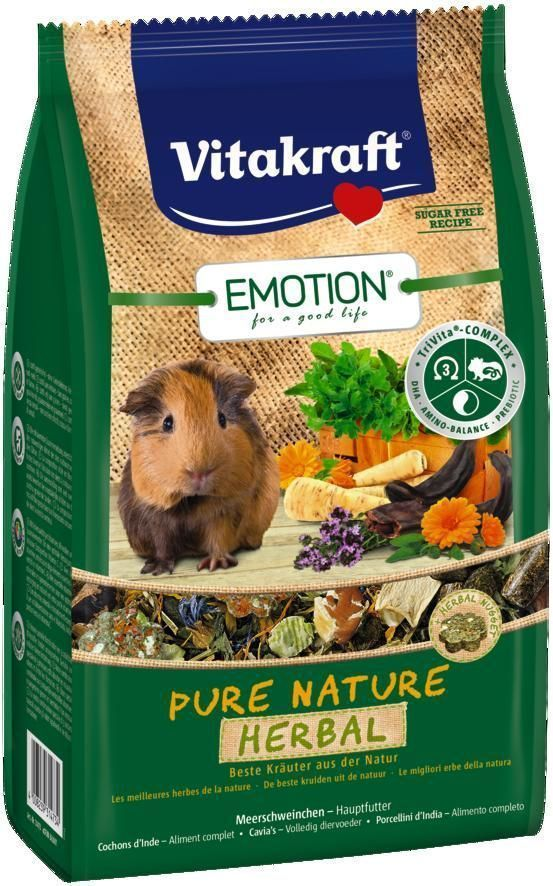 Корм для морских свинок Vitakraft Pure Nature Herbal, 600 г корм для птиц vitakraft menu vital для волнистых попугаев основной 1кг