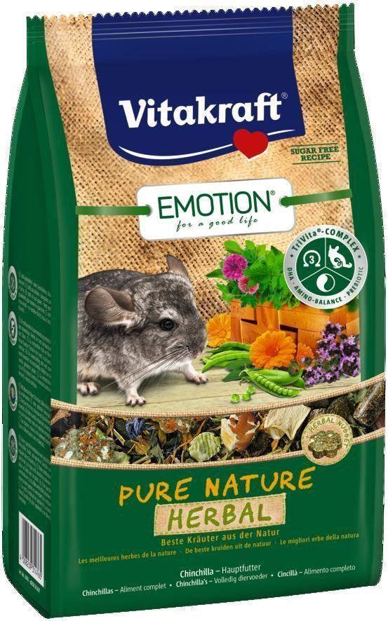 Корм для шиншилл Vitakraft Pure Nature Herbal, 600 г33785Сбалансированный беззерновой корм, с наггетсами из свежих трав. Содержит пребиотик инулин, все жизненно важные аминокислоты и докозагексаеновую кислоту, важную для функции сердца, головного мозга и иммунной системы. Состав: продукты растительного происхождения (сушеные травы 32,5%, тимофеевка луговая 8%), овощи 14,9%, петрушка 3,3%, фрукты, листья крапивы 2,1%, инулин 2,1%, ноготки 0,5%, красные васильки 0,5%, водоросли, минералы, тимьян 0,05%, экстракт юкки, масла и жиры. Товар сертифицирован.